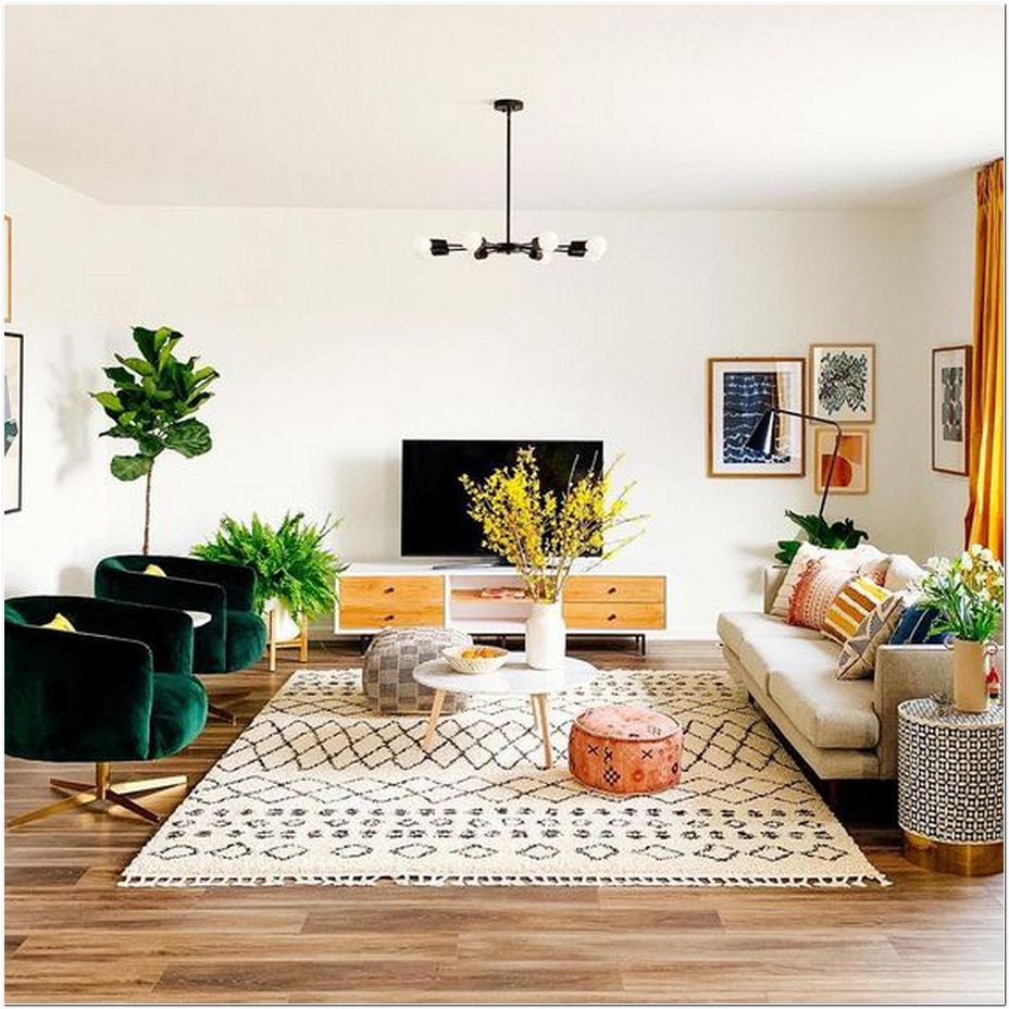 73 Retro Meets Bohemian in This Cheery, Sun-Filled Living Room